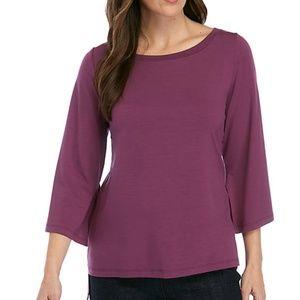 NWT Eileen Fisher Split Sleeve Jersey Top XL